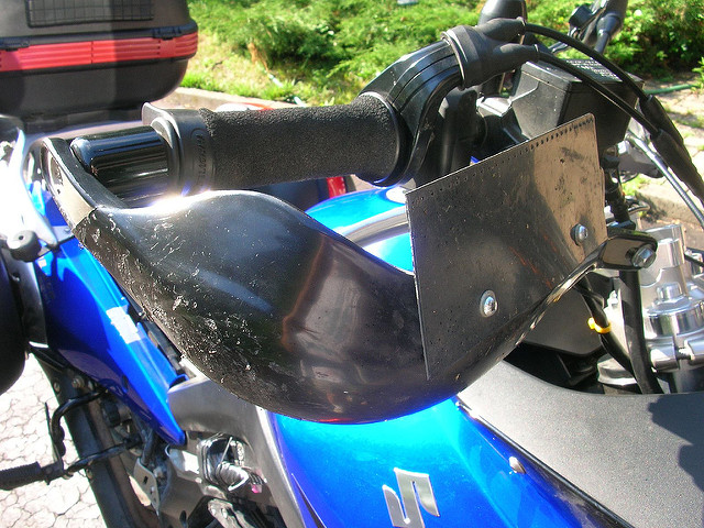 hand guards on a sport motorcycle