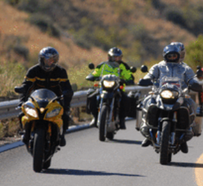 Motorcycle riders out on the open road
