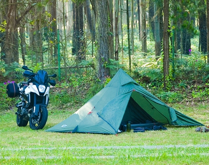 motorcycle camping scene