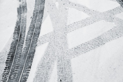 Snowmobile tracks on snow